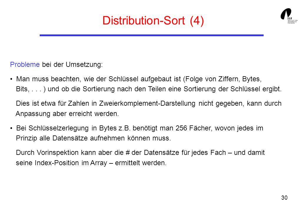 Distribution-Sort (4) Probleme bei der Umsetzung: