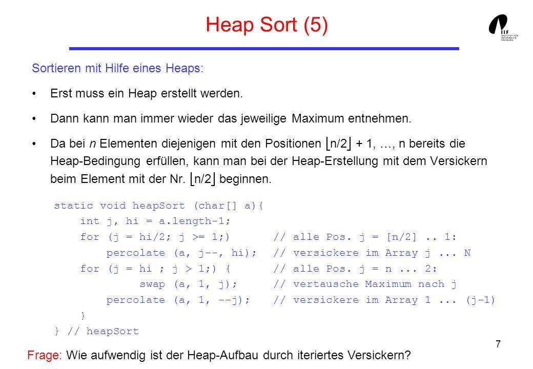 Heap Sort (5) Sortieren mit Hilfe eines Heaps: