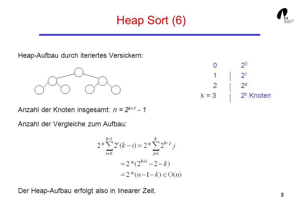 Heap Sort (6) Heap-Aufbau durch iteriertes Versickern: 0 20 1 21 2 2² k = 3 2k Knoten.