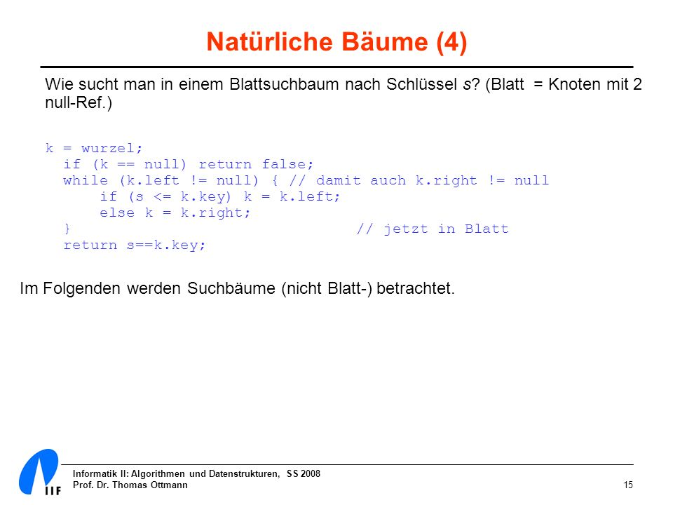 Natürliche Bäume (4) Wie sucht man in einem Blattsuchbaum nach Schlüssel s (Blatt = Knoten mit 2 null-Ref.)