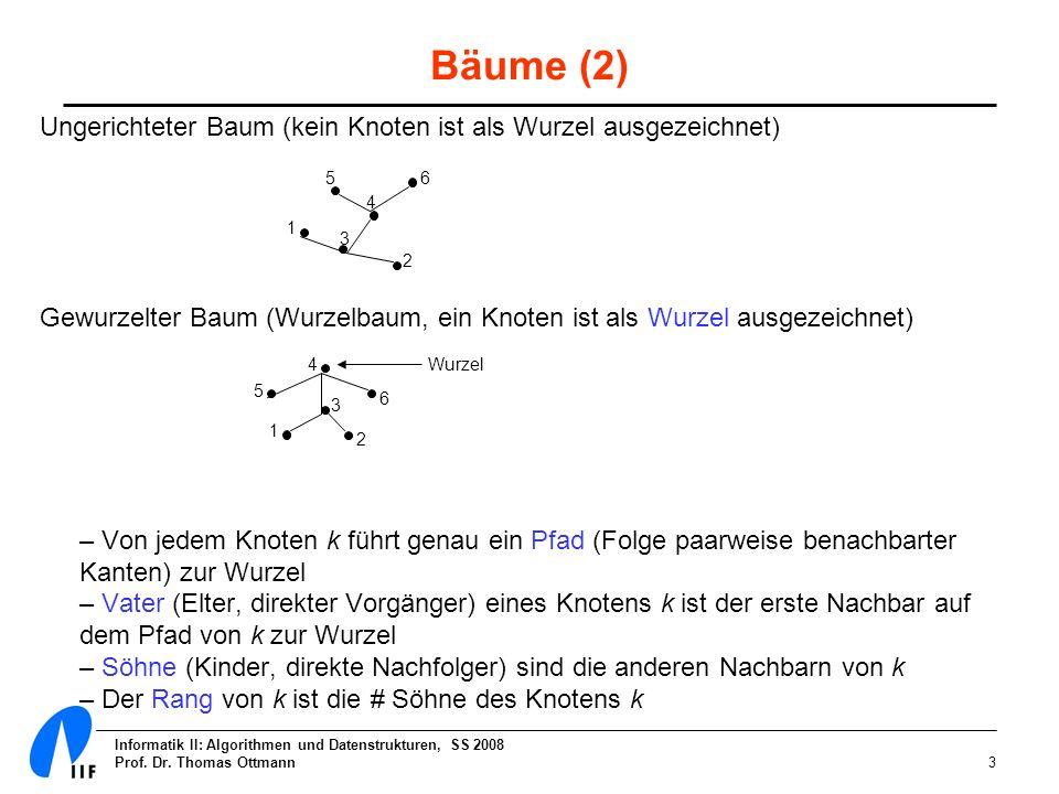 Bäume (2) Ungerichteter Baum (kein Knoten ist als Wurzel ausgezeichnet) Gewurzelter Baum (Wurzelbaum, ein Knoten ist als Wurzel ausgezeichnet)
