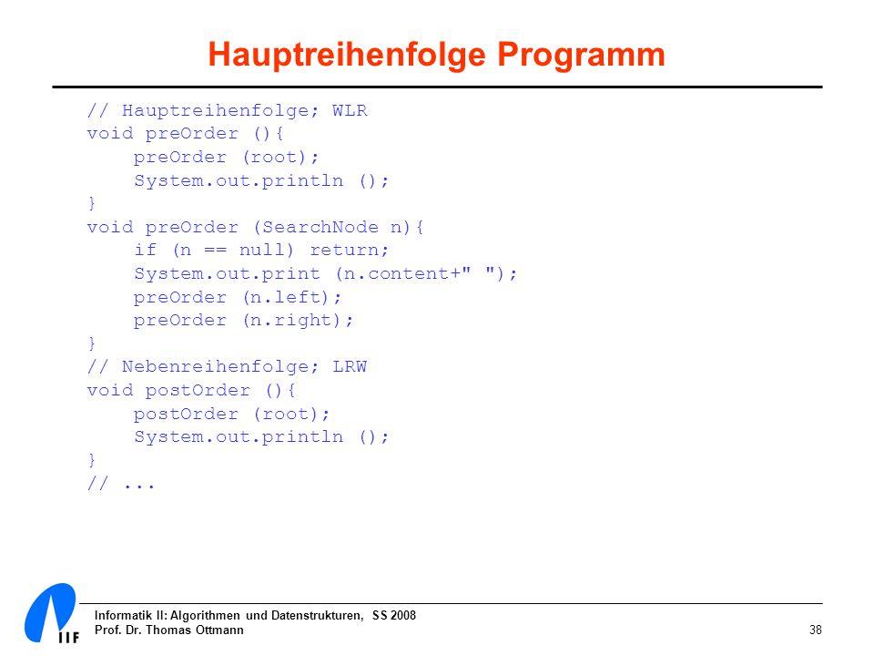 Hauptreihenfolge Programm
