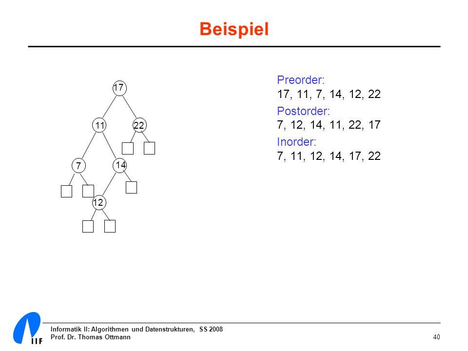 Beispiel Preorder: 17, 11, 7, 14, 12, 22. Postorder: 7, 12, 14, 11, 22, 17. Inorder: 7, 11, 12, 14, 17, 22.
