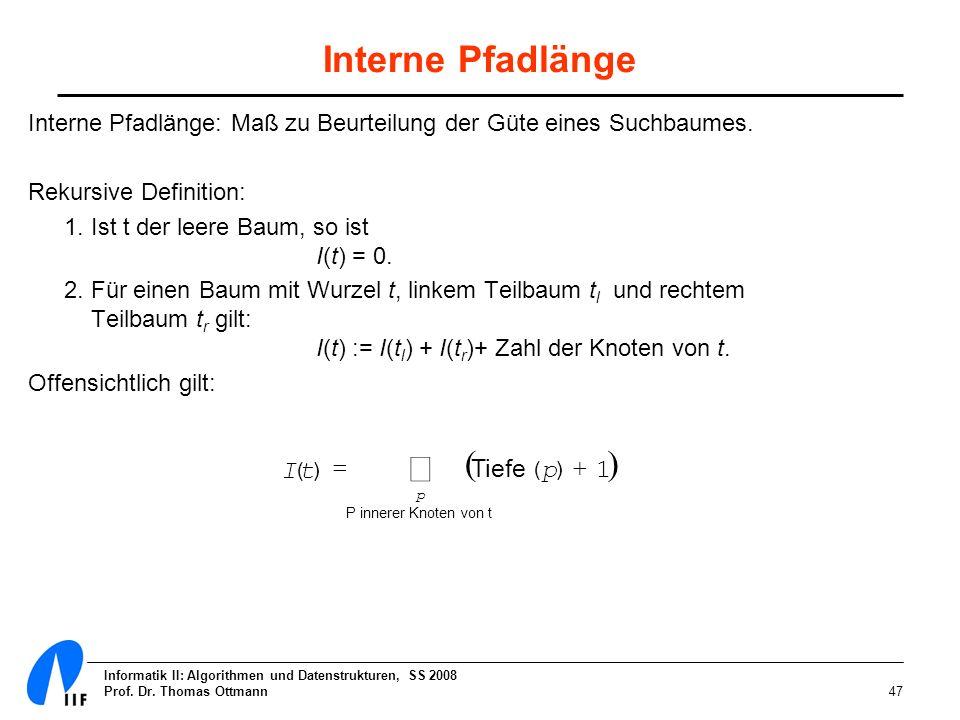 å Interne Pfadlänge ( ) I ( t ) = Tiefe ( p ) + 1
