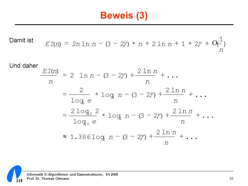 Beweis (3) 1 EI ( n ) = 2 n ln n - ( 3 - 2 g ) * n + 2 ln n + 1 + 2 g