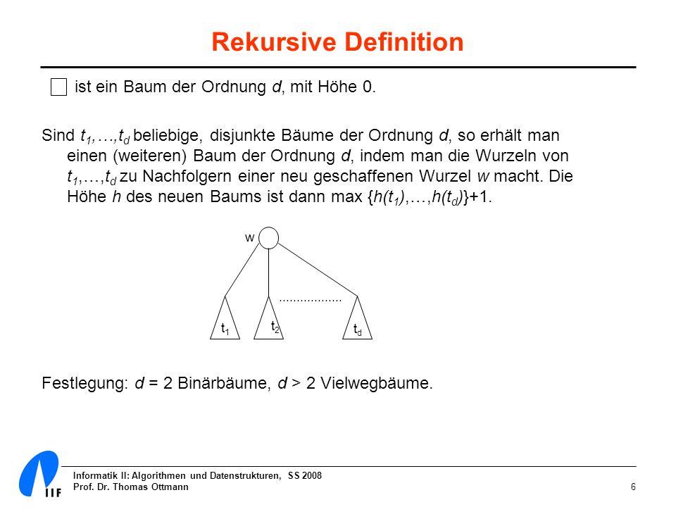 Rekursive Definition ist ein Baum der Ordnung d, mit Höhe 0.