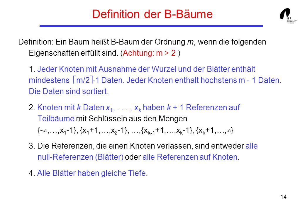 Definition der B-Bäume