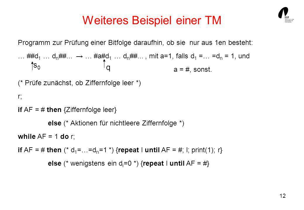 Weiteres Beispiel einer TM