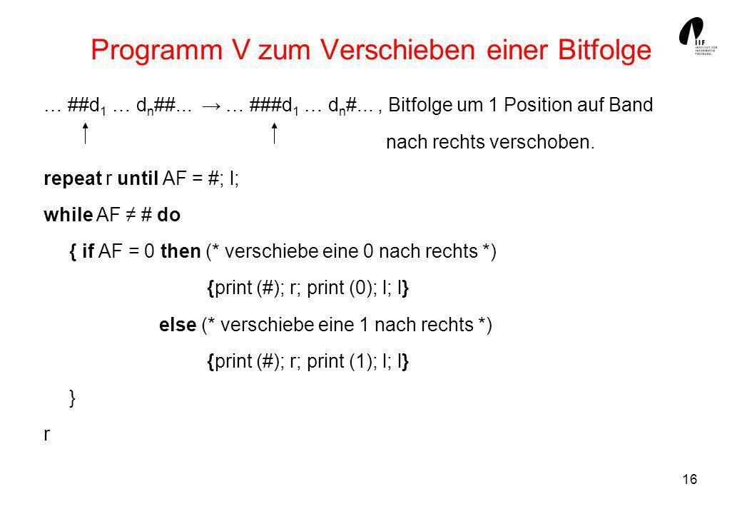 Programm V zum Verschieben einer Bitfolge