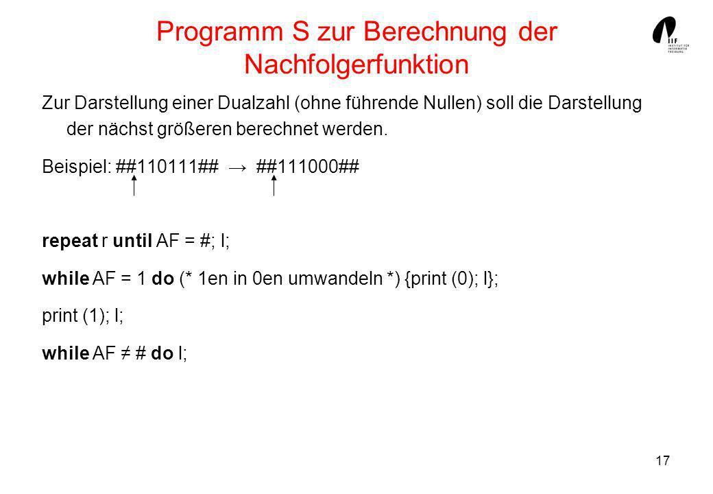 Programm S zur Berechnung der Nachfolgerfunktion