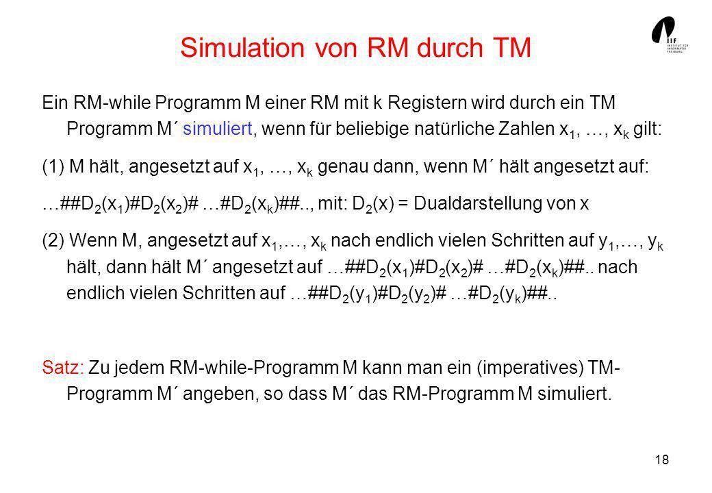 Simulation von RM durch TM