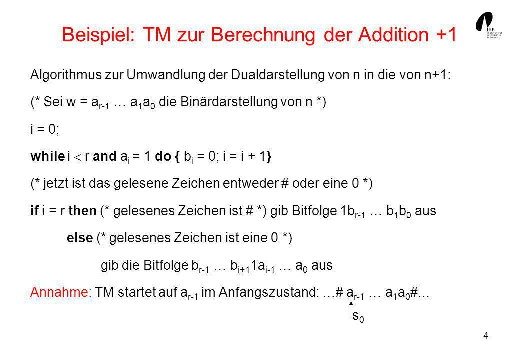 Beispiel: TM zur Berechnung der Addition +1