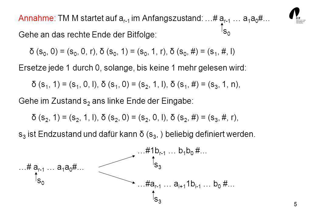 Annahme: TM M startet auf ar-1 im Anfangszustand: …# ar-1 … a1a0#...