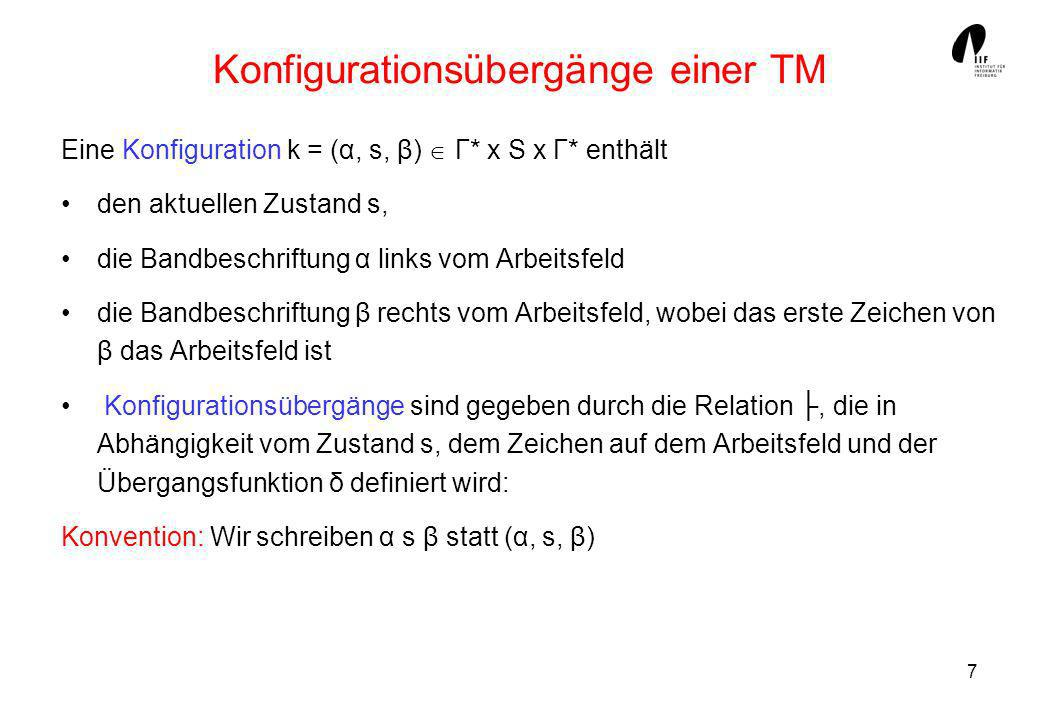Konfigurationsübergänge einer TM