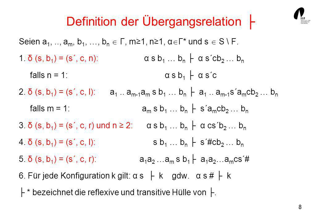 Definition der Übergangsrelation ├