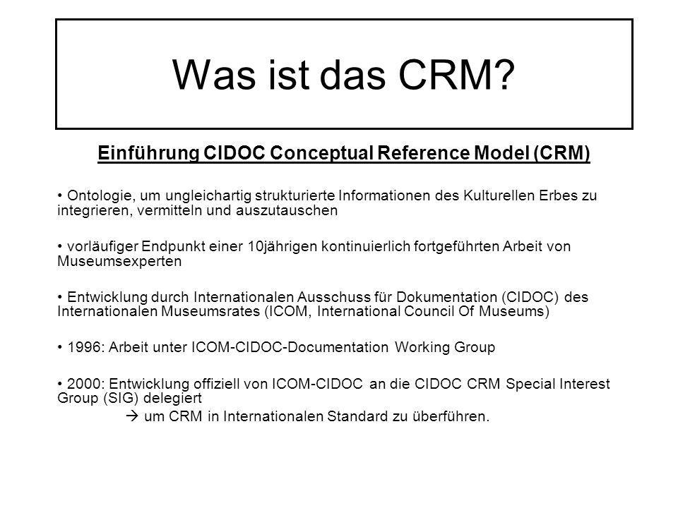 Einführung CIDOC Conceptual Reference Model (CRM)