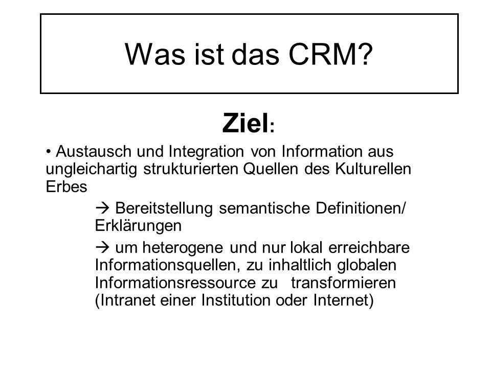 Was ist das CRM Ziel: Austausch und Integration von Information aus ungleichartig strukturierten Quellen des Kulturellen Erbes.