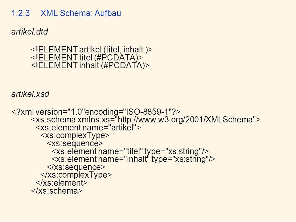 1.2.3 XML Schema: Aufbau artikel.dtd. <!ELEMENT artikel (titel, inhalt )> <!ELEMENT titel (#PCDATA)> <!ELEMENT inhalt (#PCDATA)>