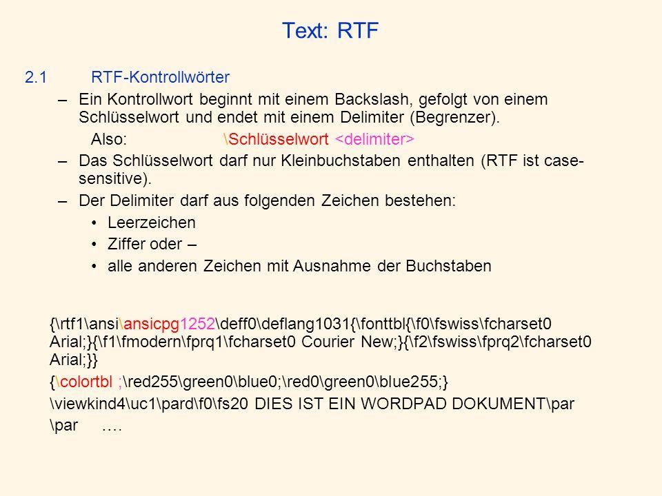 Text: RTF 2.1 RTF-Kontrollwörter.