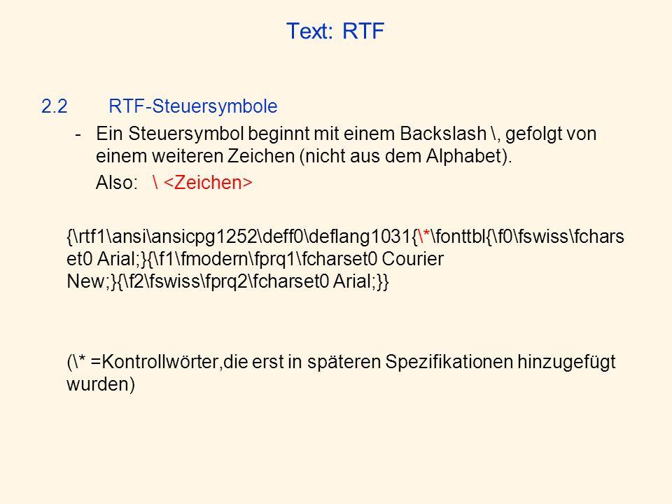 Text: RTF 2.2 RTF-Steuersymbole