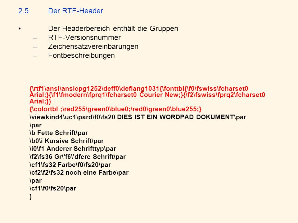 Der Headerbereich enthält die Gruppen RTF-Versionsnummer