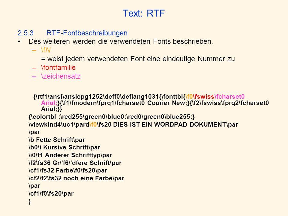 Text: RTF 2.5.3 RTF-Fontbeschreibungen