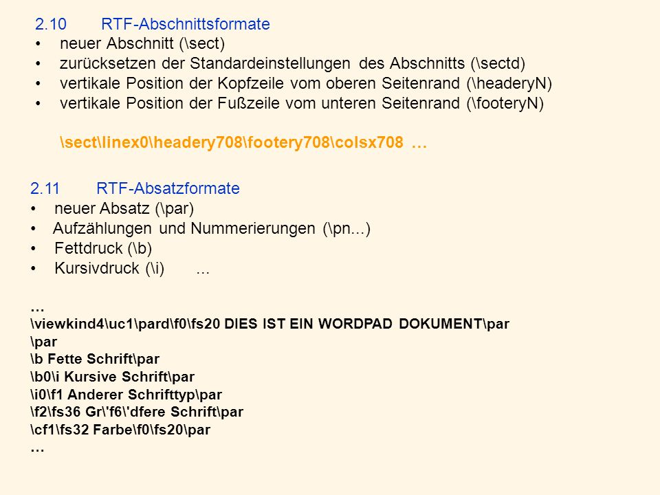2.10 RTF-Abschnittsformate neuer Abschnitt (\sect)