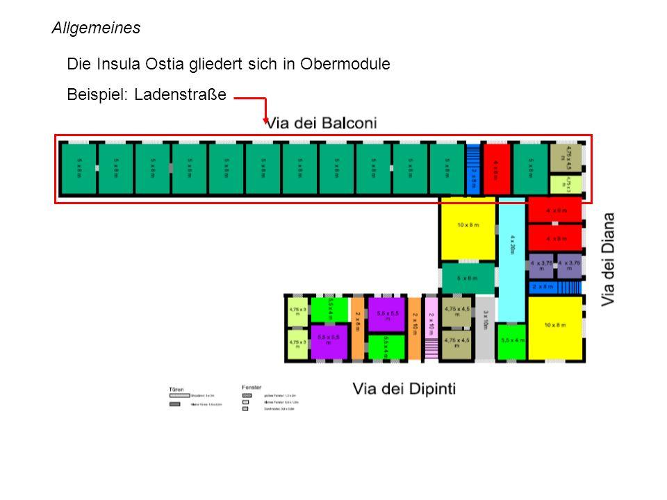 Allgemeines Die Insula Ostia gliedert sich in Obermodule Beispiel: Ladenstraße