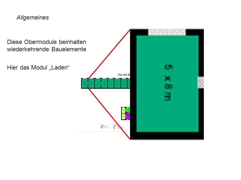 """Allgemeines Diese Obermodule beinhalten wiederkehrende Bauelemente Hier das Modul """"Laden"""