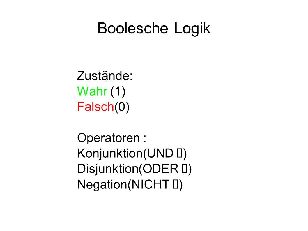 Boolesche Logik Zustände: Wahr (1) Falsch(0) Operatoren :