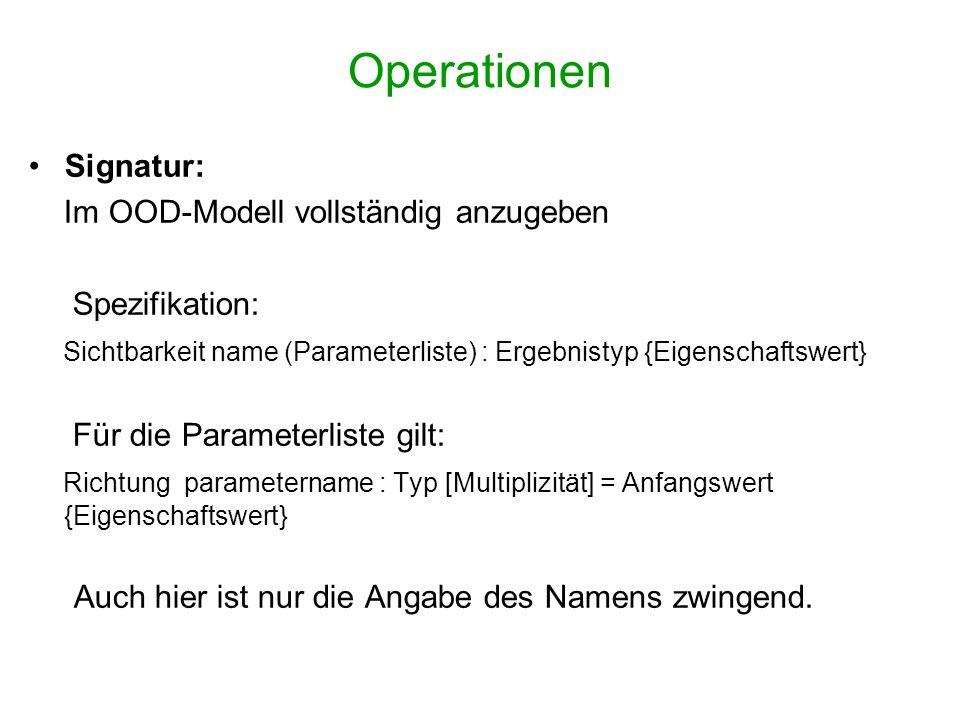Operationen Signatur: Im OOD-Modell vollständig anzugeben