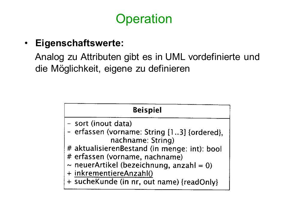 Operation Eigenschaftswerte: