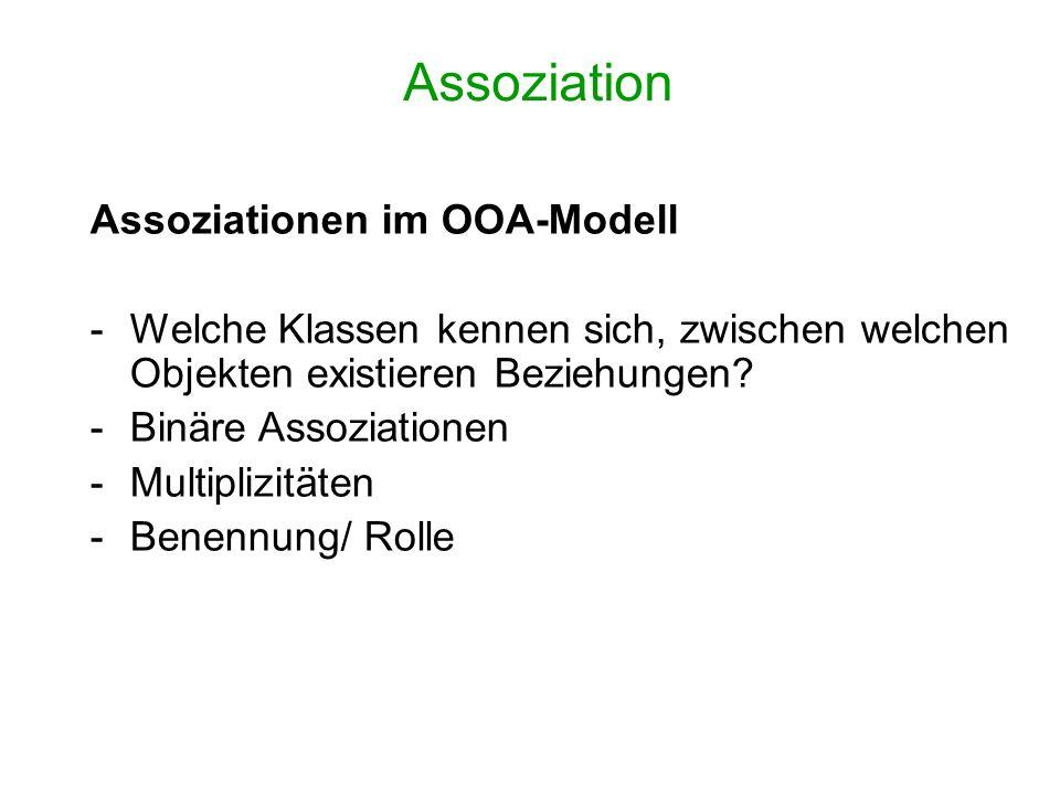 Assoziation Assoziationen im OOA-Modell