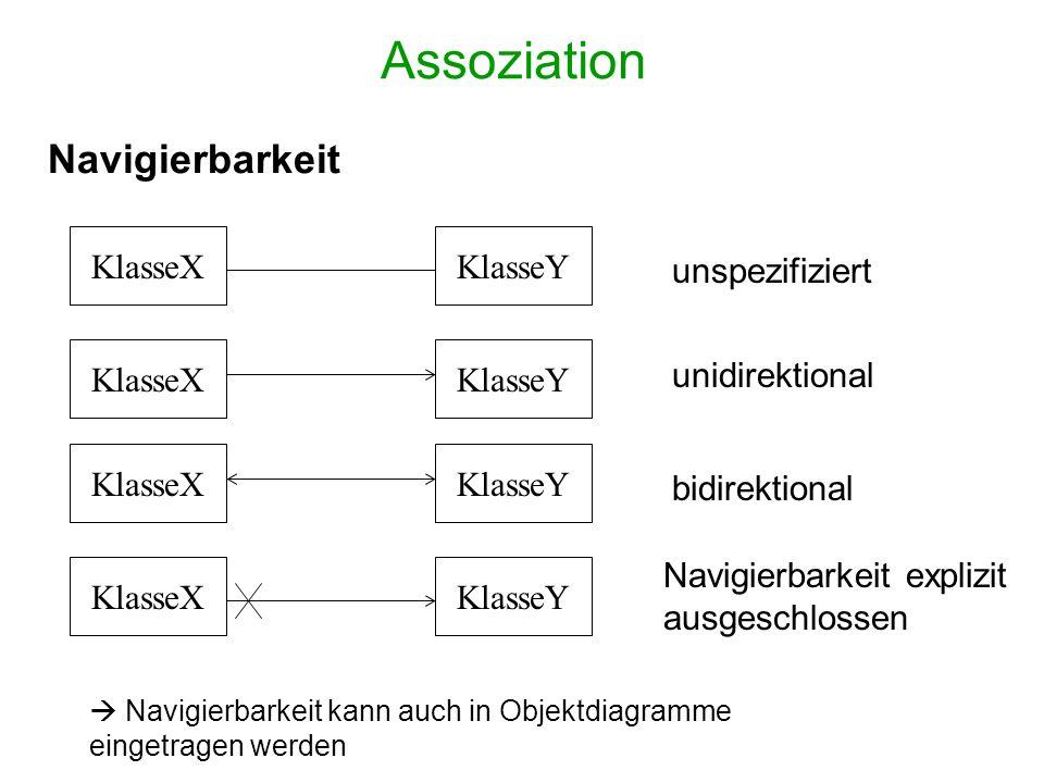 Assoziation Navigierbarkeit KlasseX KlasseY unspezifiziert KlasseX