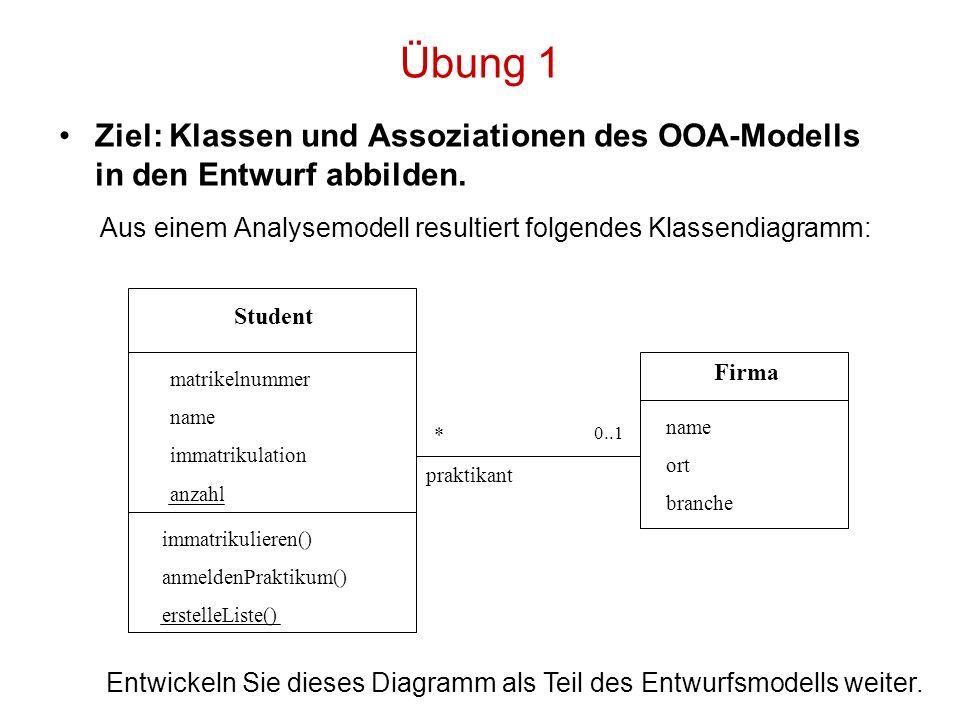 Übung 1 Aus einem Analysemodell resultiert folgendes Klassendiagramm: