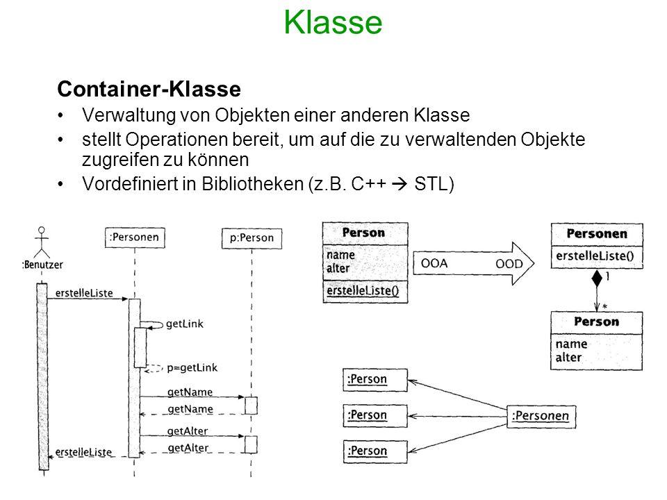 Klasse Container-Klasse Verwaltung von Objekten einer anderen Klasse
