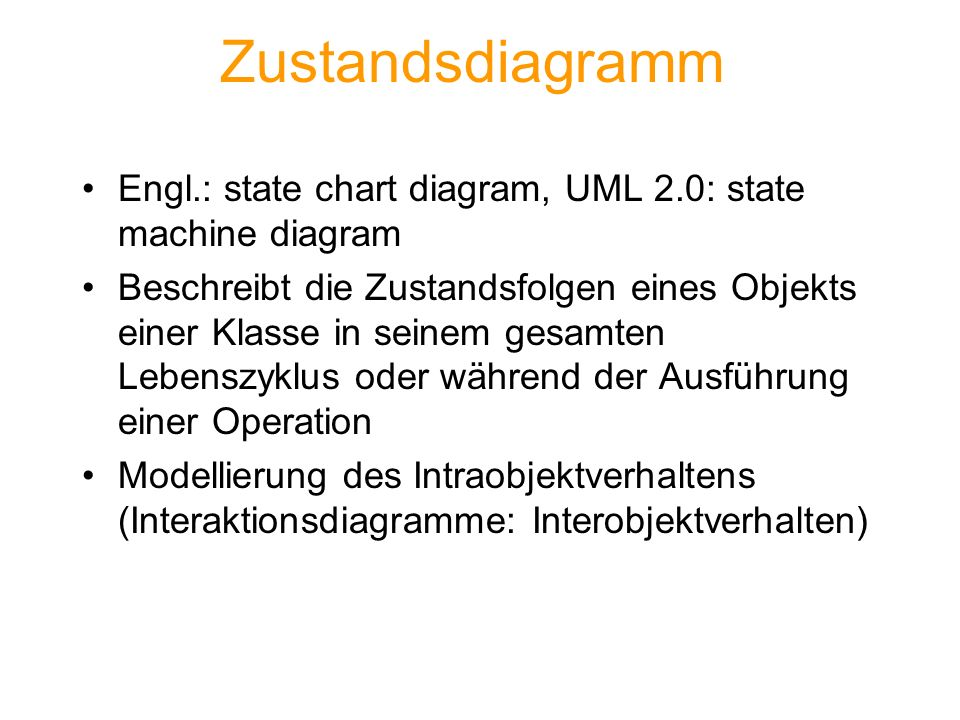 Zustandsdiagramm Engl.: state chart diagram, UML 2.0: state machine diagram.