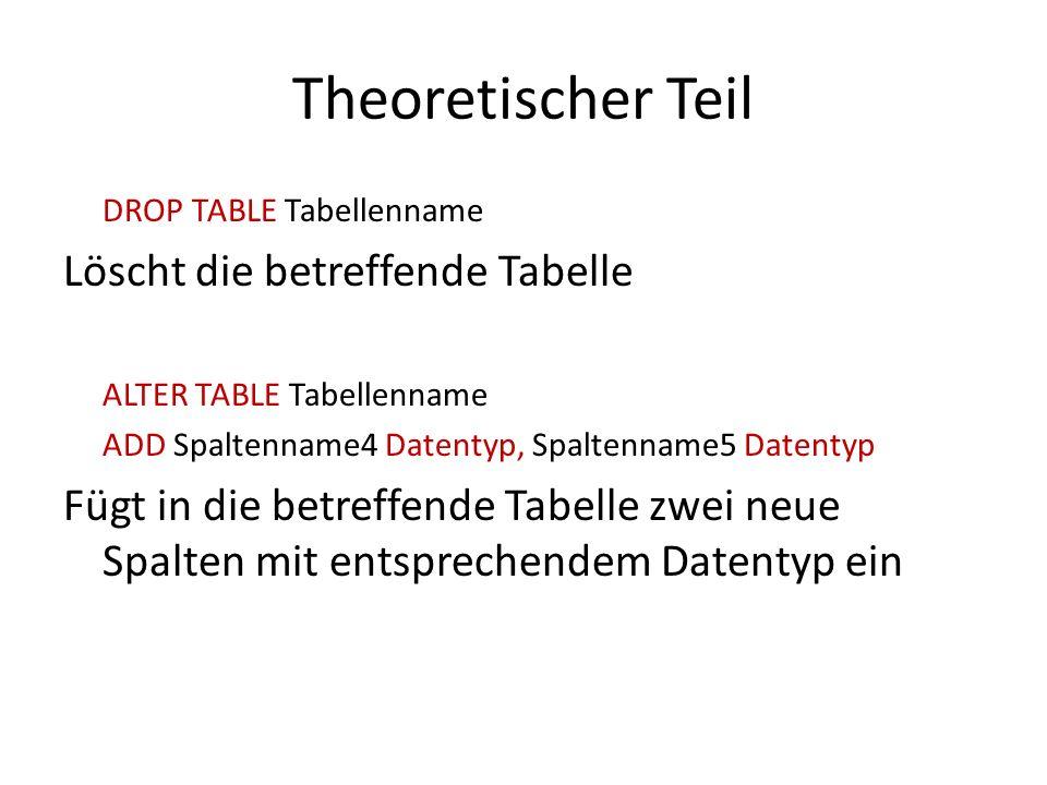 Theoretischer Teil Löscht die betreffende Tabelle
