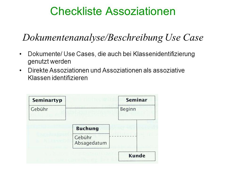 Checkliste Assoziationen Dokumentenanalyse/Beschreibung Use Case