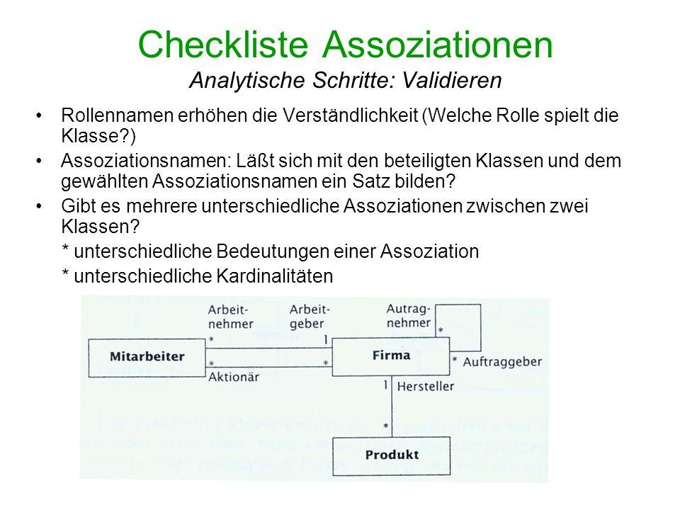 Checkliste Assoziationen Analytische Schritte: Validieren