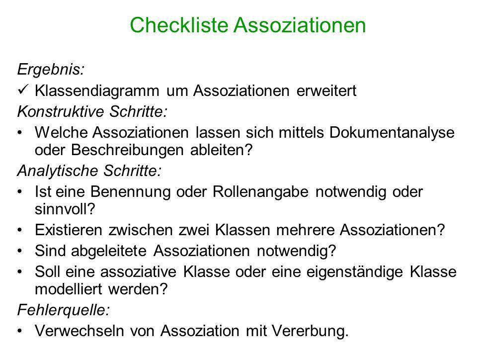 Checkliste Assoziationen