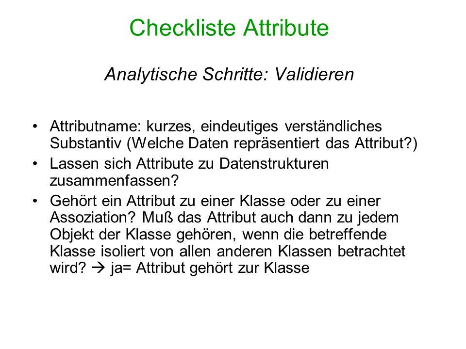 Checkliste Attribute Analytische Schritte: Validieren