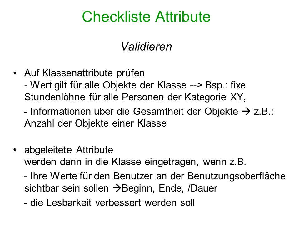 Checkliste Attribute Validieren