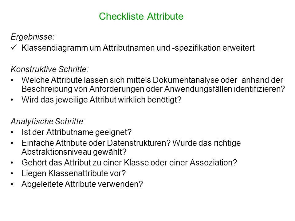 Checkliste Attribute Ergebnisse: