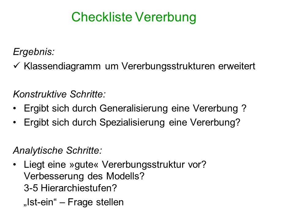 Checkliste Vererbung Ergebnis: