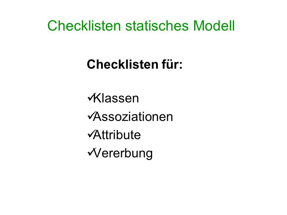 Checklisten statisches Modell