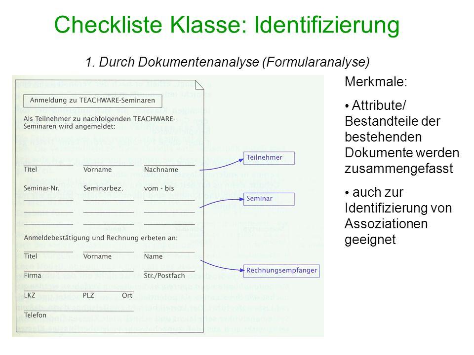 Checkliste Klasse: Identifizierung 1