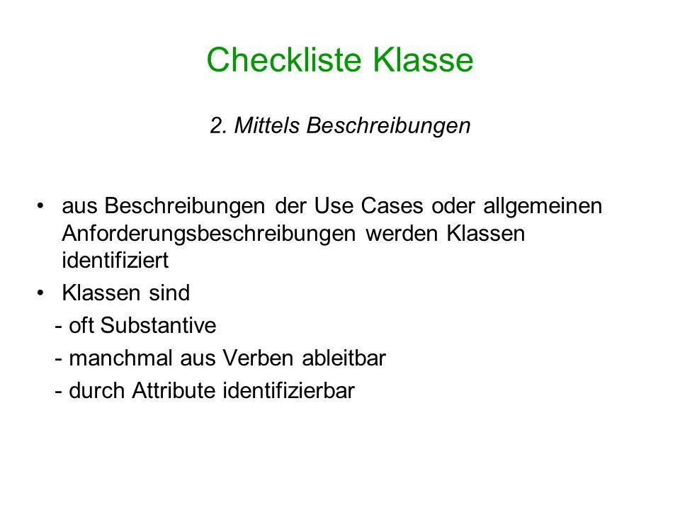 Checkliste Klasse 2. Mittels Beschreibungen