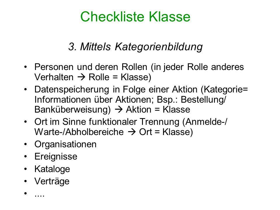 Checkliste Klasse 3. Mittels Kategorienbildung