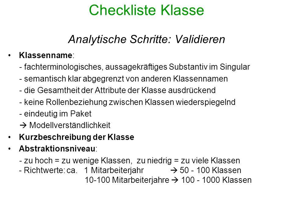 Checkliste Klasse Analytische Schritte: Validieren